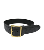 BASKETWEAVE BELT 1.75 BLACK WITH 'FOUR SQUARE' BUCKLE